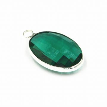 22*15mm Green oval crystal connector - single ring
